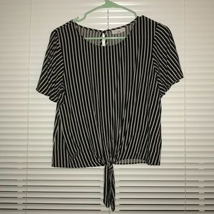 Black and White Vertical Striped Blouse